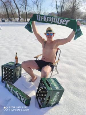 Lebensgefühl und Freiheit auch im Winter. Ewiger Bierdurst. Zu Hause. - Christoph
