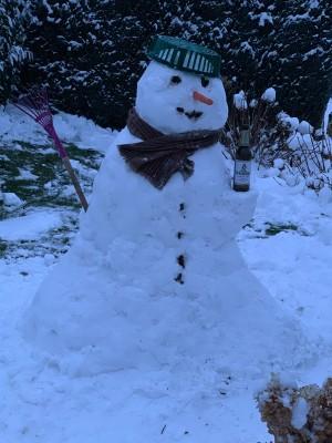Wahre Helden nutzen den ersten Brandenburger Schnee für ein 1zu1 Abbild des Königs von Schweden. Zeit mit Familie und guten Bier. Großräschen in Brandenburg. - Christopher